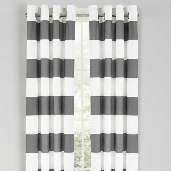 Nautica Cabana Stripe 84-Inch Cotton Grommet Top Curtain Panel Pair - 52 x 84