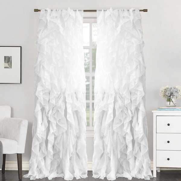 Sweet Home Collection Sheer Voile Waterfall Ruffled Tier 84 Inch Single Curtain Panel - 84' long x 50' wide