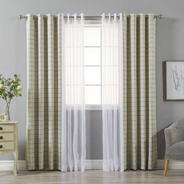 Aurora Home Mix & Match Check and Voile Sheer 4 Piece Curtain Panel Set - 52x84