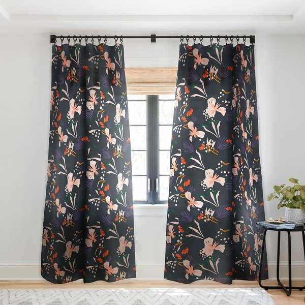 Holli Zollinger Pattern Seville Garden Black Single Panel Sheer Curtain - 50 x 84
