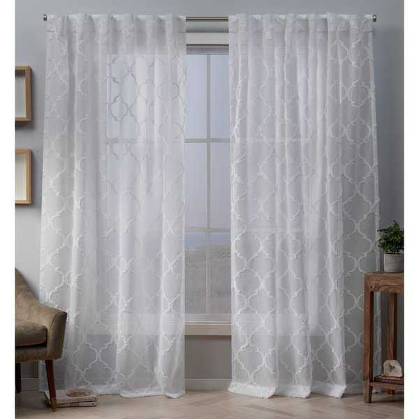 ATI Home Aberdeen Embellished Sheer Hidden Tab Top Curtain Panel Pair