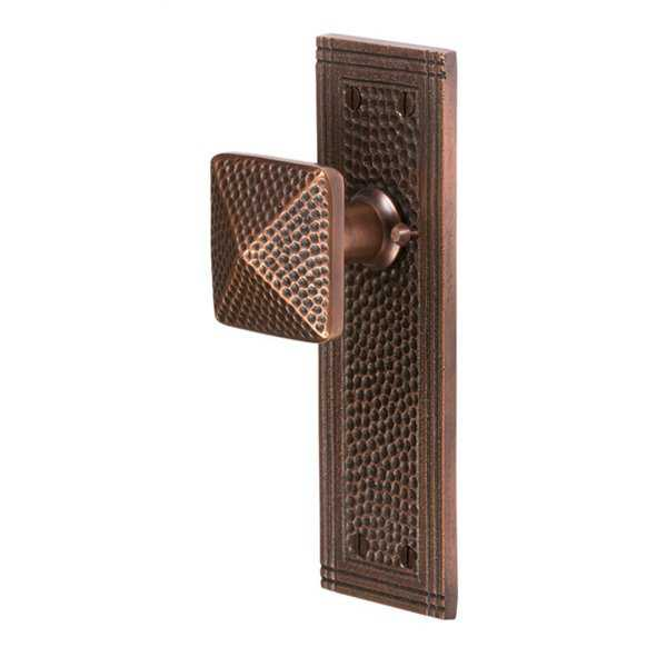 The Copper Factory CF182 Satin/Copper Brass Hammered Rectangular Privacy Set
