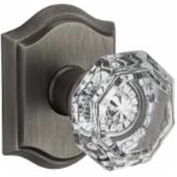 Nickel Crystal Privacy Door Knob Set with Traditional Arch