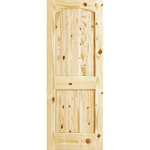 Frameport CKP-PD-RATV-6-2/3X3 Colonial Knotty Pine 36' by 80' Rebated Arch Top 2 Panel Interior Passage Door - Unfinished