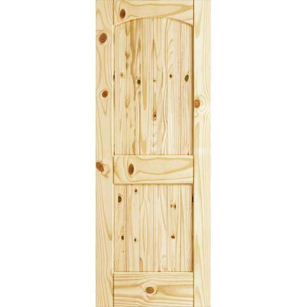 Frameport CKP-PD-RATVU-6-2/3X2-1/3 Colonial Knotty Pine 28' by 80' Rebated Arch Top 2 Panel Interior Passage Door