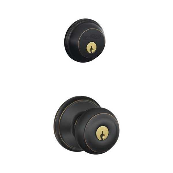 Schlage Georgian Aged Bronze Steel Knob and Single Cylinder Deadbolt ANSI Grade 2 1-3/4 in.