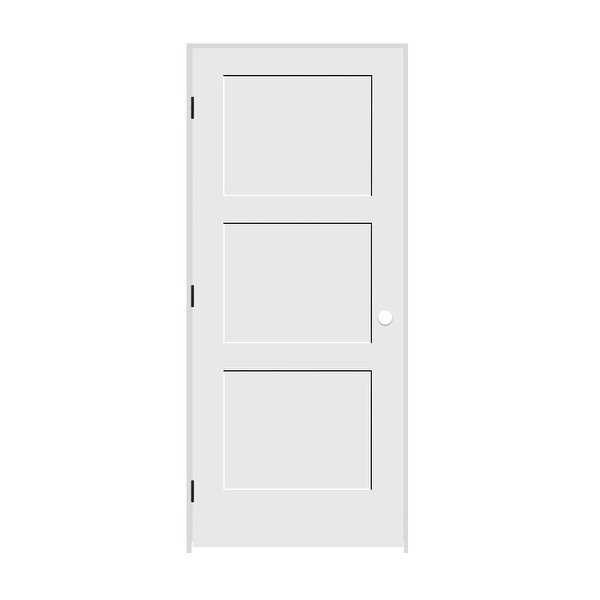Trimlite 2468138-8433RH1D714 28' by 80' Shaker 3-Panel Right Handed Interior Pre - Primed - N/A