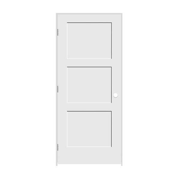 Trimlite 2468138-8433RH26D4916 28' by 80' Shaker 3-Panel Right Handed Interior P - Primed - N/A